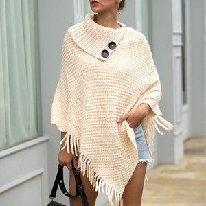 Umhang mit Fransen Schalknopf Pullover Strickpullover Damen 2019 Casual Streetwear Umhang mit Fransen Schalknopf Damenpullover
