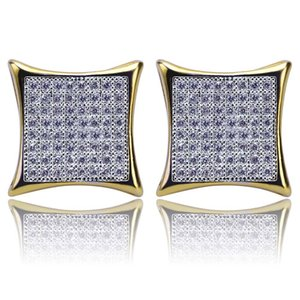 Hip Hop Earrings Jewelry New Fashion Exquisite Glarings Zircon Square Earrings Luxury 18K Gold Plated Mens Stud Earrings