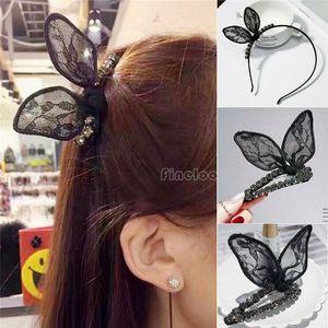 Muchacha de las mujeres de moda del oído de conejo pinzas de pelo Barrettes de la horquilla del pelo Accesorios pernos Bowknot de la cinta del cordón de la venda del pelo del arco de la venda principal