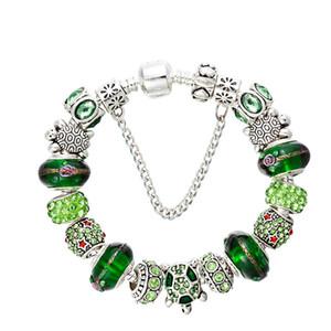 New Green pulsera con cuentas de cristal de plata plateado Serie Océano CZ diamante original de la caja de Pandora Adecuado para pulsera con cuentas de bricolaje