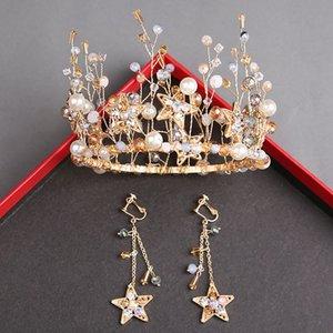 Modische handgemachte Perle Bräute Ehe Krone Headwear Ohrringe Sets Bankett Prinzessin Golden Crown Haarschmuck Zubehör