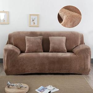 4 lugares Plush Sofá Capa estiramento sólidos cobre Cor Thick Slipcover Sofá para Sala de estar Animais Cadeira Coberta capa de almofada do sofá 1PC Towel