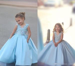 2019 Yeni Sevimli Açık Mavi Çiçek Kız Elbise Anne Ve Kızı Prenses A-line Genç çocuk Özel Durum Elbise Düğün parti Elbise