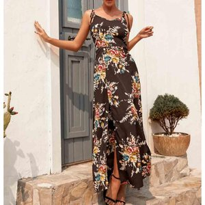 dresses for women clothing Aring Summer Spaghetti Strap Floral Printing Chiffon Sleeveless Off Should Dress Princess maxi dress