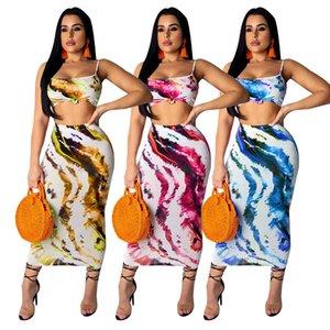Fashion Summer Two Piece Dress Spaghetti Straps Stampa digitale Tops con Maxi Skirt Set da due pezzi da donna