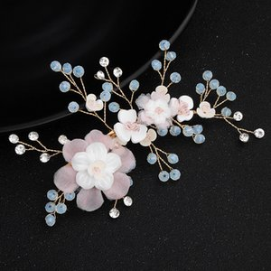 Bridal Hair Pin Wedding Jewelry Pink Flower Blue Rhinestone Tiaras & Hair Accessories Sparkling Bride Hair Headpieces
