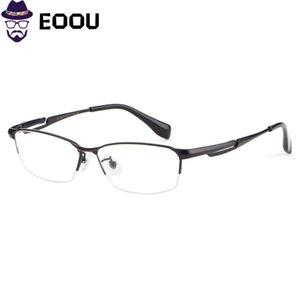 2019 Marca Men Optical Glasse 100% Pure Titanium Homem Meio moldura preta óculos Oculos Eyewear Óculos de prata de ouro