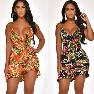 Women Bandage Floral Sundress Summer Holiday Beach Strappy Short Mini Boho Dress Vestidos Cortos Playa Robe Femme