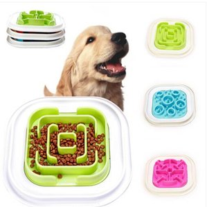 2019 Envío libre Ventas al por mayor Lento Comedero Bowl Dog Pet Anti-Gulping Feed Bowl Sano Food Feeder Dish
