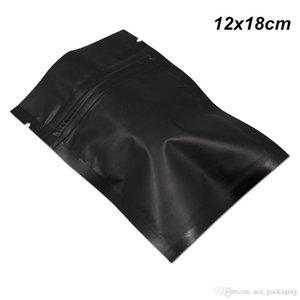 Матовый черный 100 шт 12x18 см Майларовая фольга алюминий Реклозируемое оборудование для приготовления пищи молния фольга упаковочный мешок с разрывными насечками Майларовая сумка