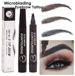 Suake lápiz de ceja impermeable Tenedor punta de la ceja del tatuaje de la pluma de 4 Cabeza fina Boceto líquido de cejas Enhancer Tinte Tinte Pen
