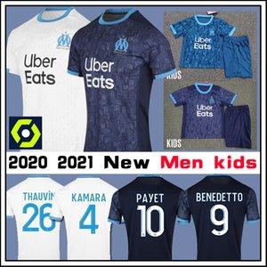Olympique De Marseille Maillot OM Maillot PAYET KAMARA THAUVIN LOPEZ L.GUSTAVO SANSON 2020 2021 Maillot de maillot de football