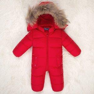 المولود الجديد البدلة الدافئة الفراء الطبيعي مقنع الرضع بنين بنات أسفل الستر سنو وايت ملابس بطة أسفل الشتاء أبلى حللا Z141 CJ191217