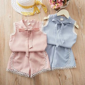 Girls Summer Clothing Set 2020 New Korean Girl Clothes Baby Suit 2 Piece Outfits Sets Short-Sleeve Tops Short 2 3 4 5 6 7 8 Year