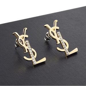 Yeni raflar harfler küpe küpe yapay elmas kadın tasarımcı küpe hediye parti marka takı aksesuarları hızlı delivery12