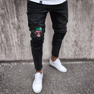 2019 New European Style Mens Jeans Biker High Street Slim Fit Jeans Mens Distressed Denim Skinny Washed Embroidered Jeans