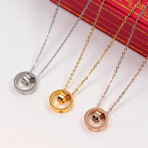 2020 de Moda de Nova Amor dupla Círculo Colar Pingente Rose Gold Silver Cor longas cadeias colares para as mulheres Casamentos Collar Bijuteria