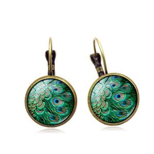 Peacock Feather Tempo gemma orecchini orecchini retrò moda