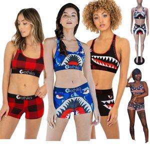 Ethika Maillot de bain femme Cartoon Shark Sports Bra Crop + réservoir Bermudas 2 pièces Maillots de bain Mode Plaid camouflage costumes de bain Bikinis A3212