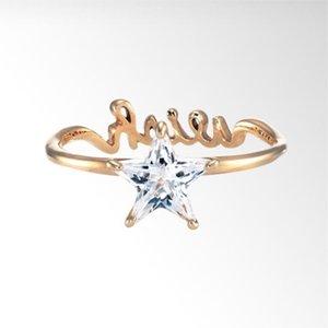 مطلية بالذهب الخماسي إلكتروني الماس الدائري للأزياء النساء مجوهرات العروس شارك خاتم الزفاف حجم 7-14