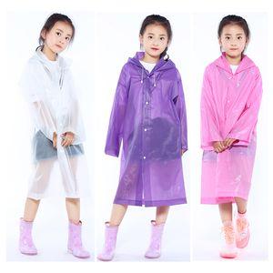 أطفال مقنع شفافة سترات معطف واق من المطر معطف المطر المعطف معطف واق من المطر غطاء طويل بوي فتاة ملابس ضد المطر 5 ألوان XD23219