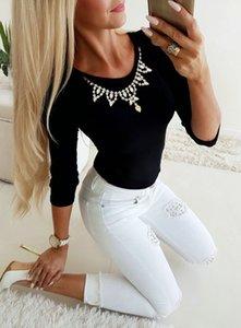 Женская футболка весна осень базовая Нижняя ожерелье рубашка женщины с длинным рукавом O образным вырезом футболка женщины топы и футболка одежда