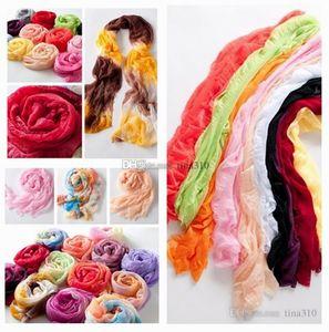 Новые модные и самые дешевые конфеты-цветные шелковые шарфы прозрачный шелковый шарф шаль складка филярное полотенце шарф T10C006