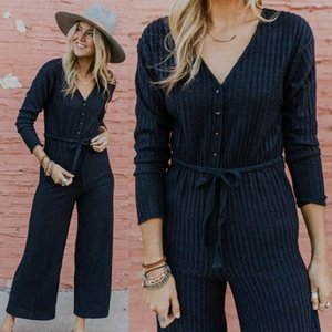 Le donne a righe Fashion Casual tuta con scollo a V Suit Tuta pantalone pagliaccetti Tuta corpo pantaloni lunghi asiatico formato S-XL