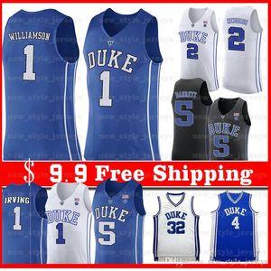 NACC Duke Blue Devils 1 Zion Williamson Jersey 5 RJ Barrett 4 Redick J.J 32 Christian Laettner 2 Cam Jerseys de baloncesto rojizo