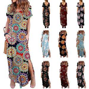 Женщины Цветочные печати платье с коротким рукавом V-образным вырезом платья макси Сарафаны лето Boho Split One Piece Юбка Летний пляж Длинные платья костюмы