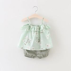 UPS libera la nave ragazze floreali Bretelle Tops + Pants Outfits Estate bambini boutique di abbigliamento coreano 1-4T neonate maniche Bretelle 2 PC Set
