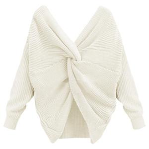 Donne Sexy Open Back Maglione Big Tie con scollo a V maniche a maniche Maglioni Pullover a maglia di colore solido maglione donne maglieria