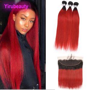 Pérou cheveux humains 3 Bundles Avec 13x4 Lace Frontal avec bébé cheveux 1B / Rouge Bundles droite Avec 13 * 4 Frontal droite en gros