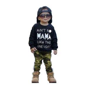 Costume pour enfants imprimé T-shirt à manches longues Top pantalon de camouflage