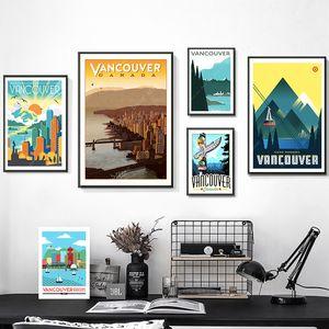 Город Дождя Канада Карта Ванкувера Винтаж Ретро Путешествия Классический Холст Картины Крафт-Плакаты Стикеры Стены Home Decor Семейный Подарок