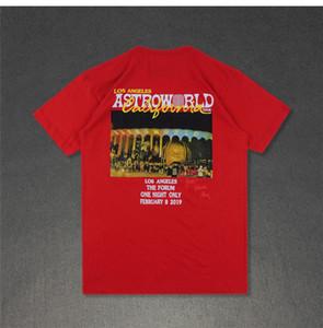 Mens летнего дизайнера Tshirts шея экипажа с коротким рукавом Мода Homme Одежда AstroWorld LA Повседневная одежда