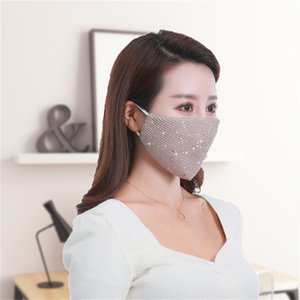 Sequins designer blue silk Bling 3D Washable Reusable Mask PM2.5 Face Care Shield Sun Color Gold Elbow Shiny Face Cover Masks luxury