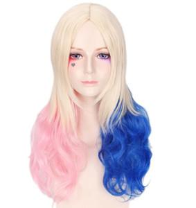 костюмы страшно кудрявый парик блондинка розовый синий красочный Косплей парики Хэллоуин костюмы женщин девушки париков крышки рождества детский парик пропеллер