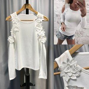 Yeni Moda Kadın Aplike Uzun Kol Taban O Boyun Kapalı Omuz Dantel Sexy Ve Sevimli Stil Ladies ile Katı Renk Tişört Shirt