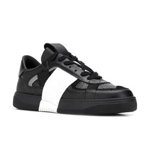 جديد VL7N حذاء رياضة جلد طبيعي الرجال النساء شقق تشغيل المدربين منقوش الأسود مثال: اللباس أحذية Chaussures أحذية حجم 35-45