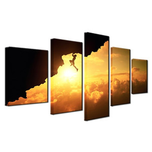 Hot Selling 5 Pieces Home Decor Print oil painting on canvas Wall Art Decorations Wall Canvas, Sunset Landscape