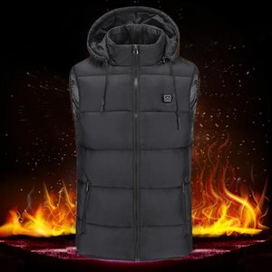 Heated Jackets Vest Down Cotton Outdoor Coat USB Electric Heating Hooded Winter Thermal Warmer Jackets Outdoor Camping Hiking Fi