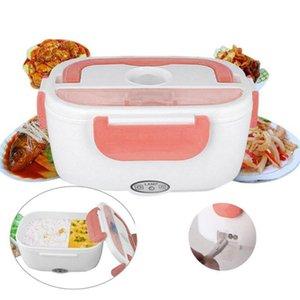 Calentador eléctrico Caja de Almuerzo Con Cuchara Caja de Almacenamiento de Alimentos Auto Car Food Rice Container Warmer Para Oficina de la Escuela Hogar Almacenamiento de Alimentos Q190525
