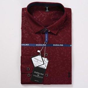 Dudalina Men Shirt Camisa Social Masculina Jacquard Embroidery Long Sleeve Business Casual Shirts Men
