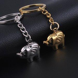 Metallschlüsselschnalle Automobil Goldsplitter Farbschlüssel Anhänger Mann Frau Kleiner Elefant Zeichenkette Neuheit 1 3dx L1