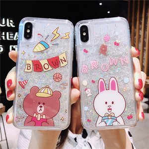 Cute Rabbit Quicksand Liquid Plastic TPU Phone Case For IPhone XS Max XR 6 7 8 Plus Bling Gold Foil Star Phone Skin Cover For Girl