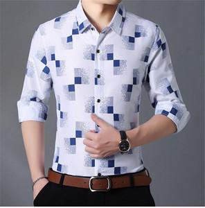 Mens Plaid contraste de cor Shirts Moda Turn Down Collar Mens Shirts Único Breasted manga comprida homem Vestuário