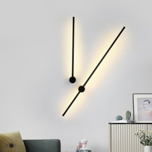 1pc Long Wall Lamp Modern Led Wall light Indoor Living Room bedroom LED Bedside Lamp Home Decor Lighting Fixtures Black 7W 10014