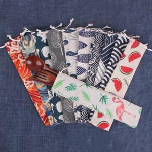 Besteck Aufbewahrungstasche Besteck Strahl Tasche 60 Arten nette Art und Weise Löffel Essstäbchen kreatives bewegliche Leinwand Reisebesteck Tasche