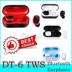 100PCS DT-6 sem fio fone de ouvido Bluetooth TWS 5.0 Esportes auriculares Stereo Som Stereo Headset 3D com microfone e carregamento Box